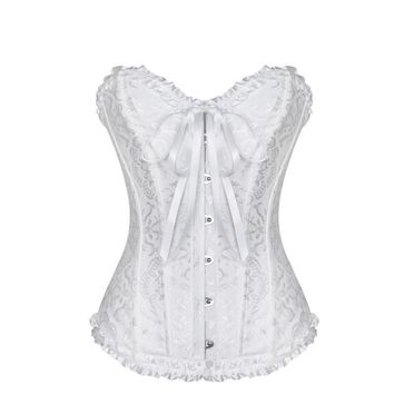 Women Sexy Bridal Overbust Corset Jacquard Strapless Bustier Lace Up Steel Boned Corset Top