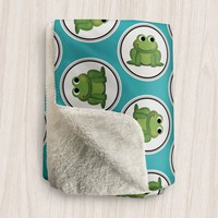 Frog Sherpa Fleece Blanket - Turquoise Green Frog Pattern - 2 sizes available - Made to Order