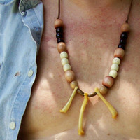 Bone Wood  Necklace on Leather Bold