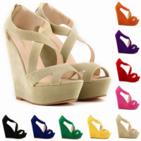 Fashion Large high-heeled high-heeled high-heeled shoe waterproof platform  hollowed-out women's sandals(10 color)