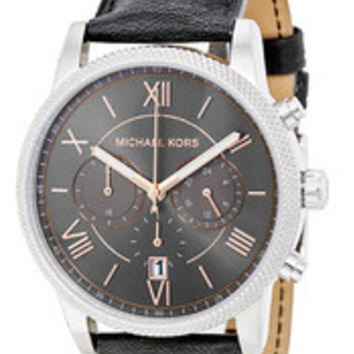 Michael Kors Men's Chronograph Hawthorne Black Leather Strap Watch 42mm MK8393
