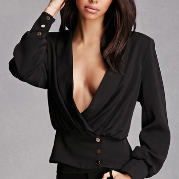 Plunging Button-Front Top