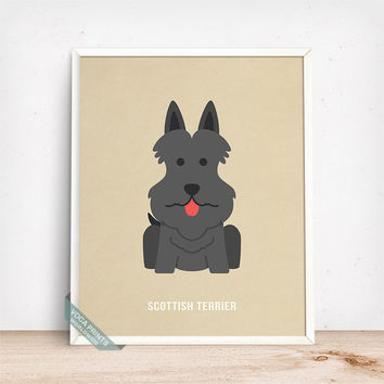 Scottish Terrier Print, Scottish Terrier Poster, Dog Print, Dog Breed, Scottie, Aberdeenie, Wall Art, Dog Poster, Fathers Day Gift