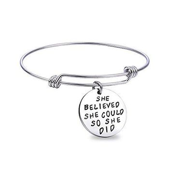 Wanmei 3pcs Wire Bangle Stainless Steel expendable Charm Bracelet Engraved Message Motivational Inspirational Words Round Charm Pendant Adjustable Bracelet set best gift for women