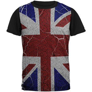 5th of November Rhyme Union Jack British Flag All Over Mens Black Back T Shirt