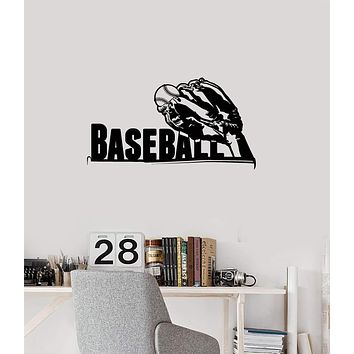 Vinyl Wall Decal Baseball Glove Lettering Ball Sports Room Decor Art Stickers Mural (ig5588)