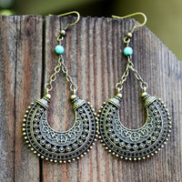 Unique Ethnic Bronze crescent shape dangle earrings/Hippie/Tribal/Free people style/Bohemian jewelry/Gypsy earrings