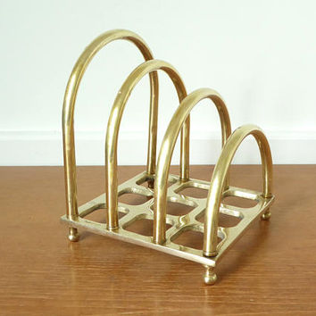 Large square brass mail holder or file organizer for desktop