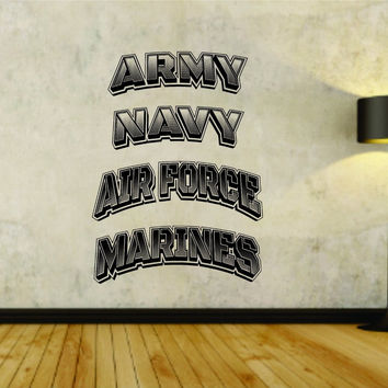 Military Logo Service Branches Soldier Uniform Vinyl Wall Decal Sticker