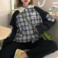 """Adidas"" Women Fashion Letter Embroidery Multicolor Tartan Cardigan Long Sleeve Two Sides Wear Cotton-padded Jacket Coat"