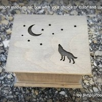 music box, musical box, music boxes, wolf, wooden music box, custom music box, personalized music box, compass rose, simplycoolgifts