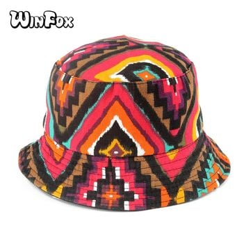 Winfox New Fashion Spring Summer Reversible Aztec Geometric Bucket Hat Poliester Gorro Pescador Cappello Pescatore Mens Womens