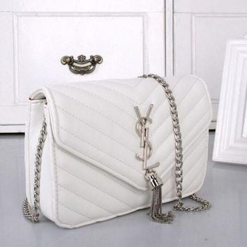 Gotopfashion YSL Women Shopping Leather Metal Chain Crossbody Satchel Shoulder Bag white