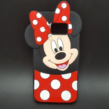 3D Cartoon Mickey Minnie Mouse bow-knot Soft Silicone Case For Samsung GALAXY S7 edge G9350 Fundas Rubber Cover phone cases