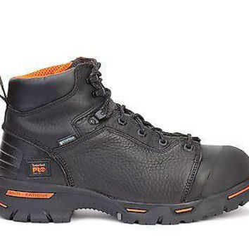"Timberland Pro Mens 6"" Endurance Steel Toe WP Boots Black 47592"
