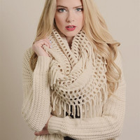 Chenille Tassel Infinity Scarf in IVORY