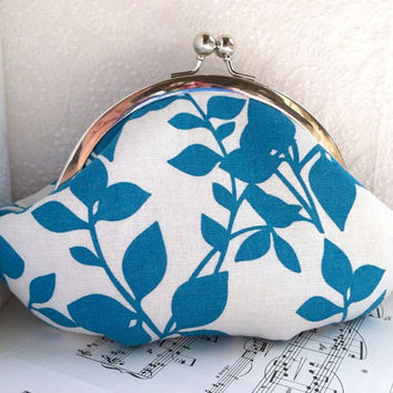 Small wristlet clutch, framed linen clutch purse, teal clutch bag, white with teal blue leaves, personalized initial, wedding clutch