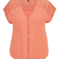 Plus Size - Lace Shoulder Chiffon Top - Living Coral