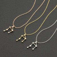 One Piece Libra Zodiac Sign Astrology Necklace Constellation Jewelry Astrology Star Sign Necklace for Women Good Gift Idea