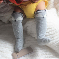 Fancy Designer Leg Warmers Kawaii Cartoon Fox Socks Brand Baby Boys Girls Legging Protectors For Children Knee Pads Leg Warmers