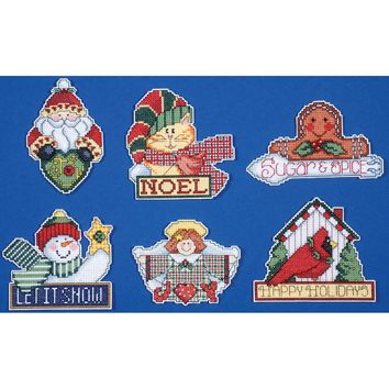 "Signs Of Christmas Ornaments Counted Cross Stitch Kit 3.5""X4"" 14 Count Set Of 6"
