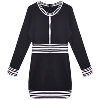 Black Stripes Long Sleeve Knitted Mini Dress