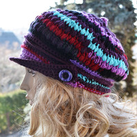 Crocheted  PEAKED CAP beanie Slouchy Winter Fashion , very warm,purple,women slouchy hat,Girls Hat,unique gifts