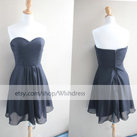 Handmade Sweetheart Ruching Bodice Black Bridesmaid Dress/ Cocktail Dress/ Wedding Party Dress/ Short Prom Dress/ Homecoming Dress