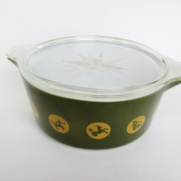 Vintage Pyrex 1961 Promotional Green Zodiac 275-B 2 1/2 Quart Round Cinderella Casserole With 475-C Gold Star Lid