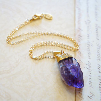 Luminous Amethyst Druzy Crystal Point Necklace, Druzy Jewelry, Geode Druzy