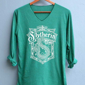 NEW Slytherin Shirt Harry Potter Shirts V-Neck Green Unisex Adult Size S M L