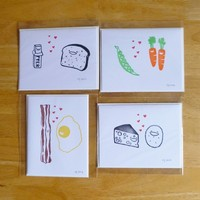 Supermarket: Foody Love Notecard Set from fuzzy grapefruit