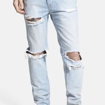 Men s Topman Distressed Skinny Fit Jeans (Blue) d4cc7b90ce2d