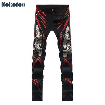Sokotoo Men's fashion red lines tiger print jeans Colored drawing slim stretch black denim pants Long trousers