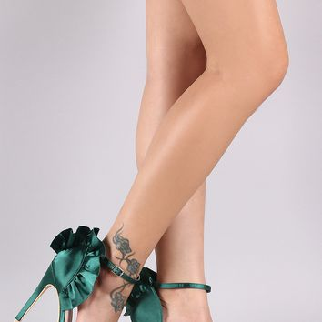 Satin Open Toe Ruffled Ankle Strap Stiletto Heel