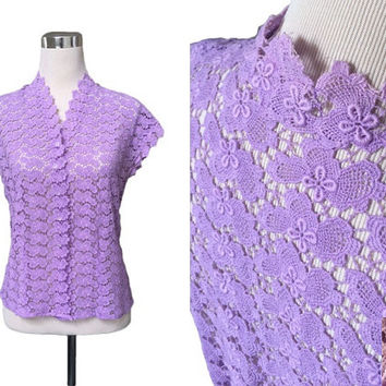 East German VEB - Lilac Lace Vintage Blouse - 1940s 1950s - Rare Glass Button Down Blouse