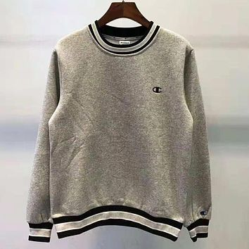 Champion Autumn And Winter New Fashion Bust Embroidery Logo Women Men Hooded Long Sleeve Top Sweater Gray