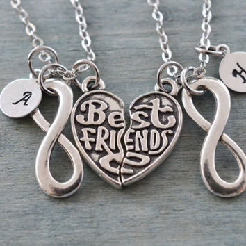 best friend necklaces set, friendship gift, bff, personalized jewelry, best friend forever, infinity gift, sister gift, matching necklace