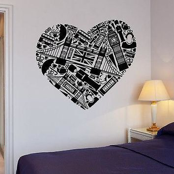 Wall Stickers England English London Love Big Ben Mural Vinyl Decal Unique Gift (ig1942)