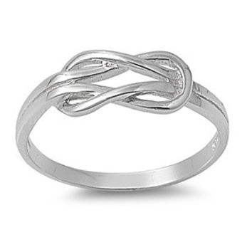 925 Sterling Silver Infinity Promise Knot Ring 6MM