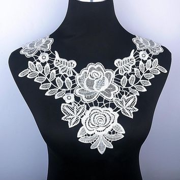 Smiry 1pc White & Black Embroidery Double Rose Flower Lace Neckline Fabric, DIY Collar Lace Fabrics For Sewing Supplies Crafts