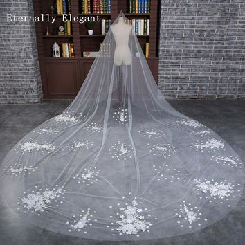 3 Meters White/Ivory Flowers Appliqued Mantilla Cathedral Wedding Veil Bridal Veil Long With Comb Wedding Accessories MD3005