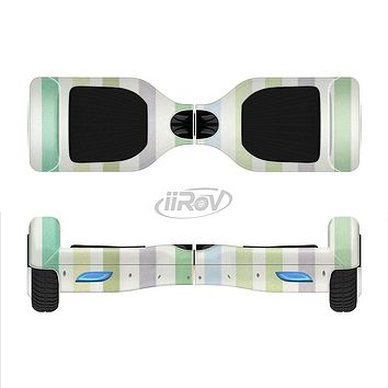 The Shades of Green Vertical Stripes Full-Body Skin Set for the Smart Drifting SuperCharged iiRov HoverBoard