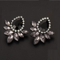 Fashion Rhinestone Black Resin Stud Earrings