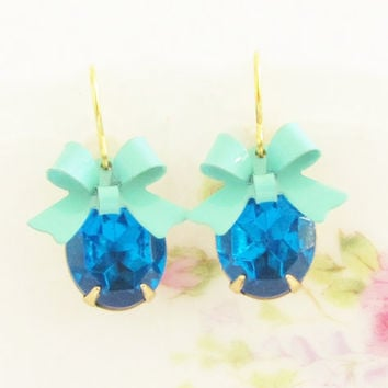 Cobalt and Turquoise Blue Bow Earrings  by silverliningdecor