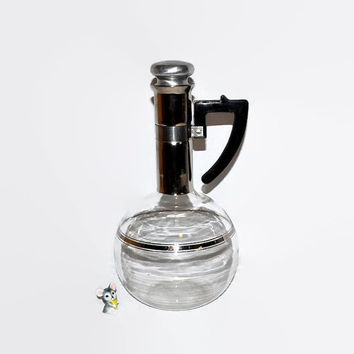 Atomic Space Age Glass Carafe - Inland Glass - Art Deco Modernist - Made in USA Blown Glass Decanter - Black & Silver Accents