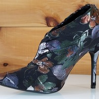 Mac J Green Floral Pointy Toe High Heel Booties