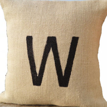 Monogram Pillow -Burlap Monogrammed Pillow -Customized Painted Letter Pillow -Ivory Throw Pillow -Personalized Cushion - Gift Pillows -20x20