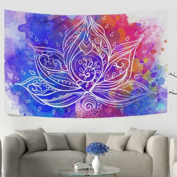 Ornamental Boho Style Lotus Flower Geometric Wall Tapestry Dorm Throw Bedroom Room Decorative Window Doorway Hanging Curtain