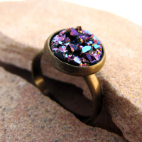 Little Purple Faux Druzy Ring - Antiqued Brass Adjustable Stacking Ring